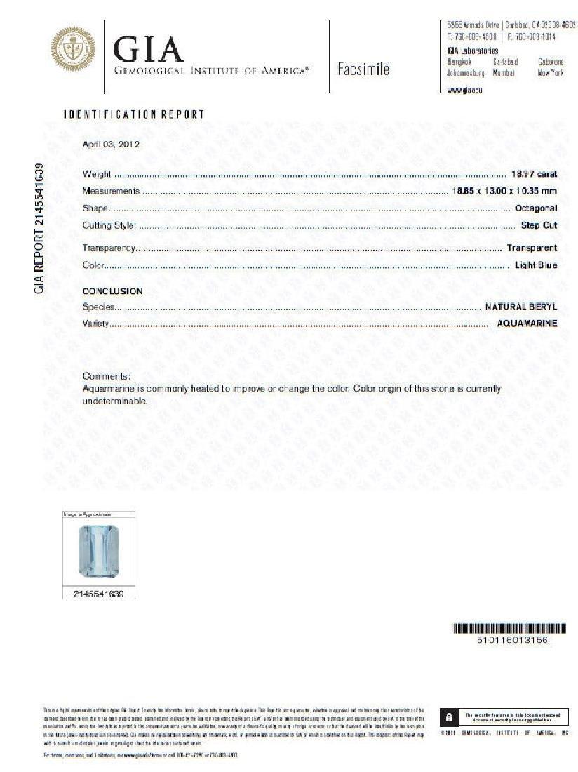 GIA Certified 19.99ct Natural Aquamarine diamonds ring - 8