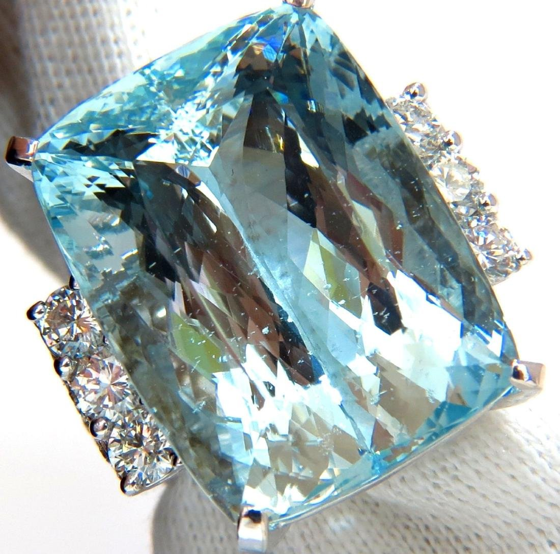 GIA 39.10ct NATURAL CUSHION CUT AQUAMARINE DIAMONDS