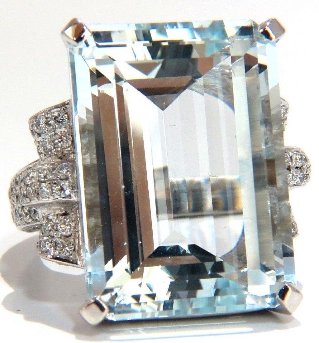 GIA 37.15ct NATURAL EMERALD CUT AQUAMARINE DIAMONDS