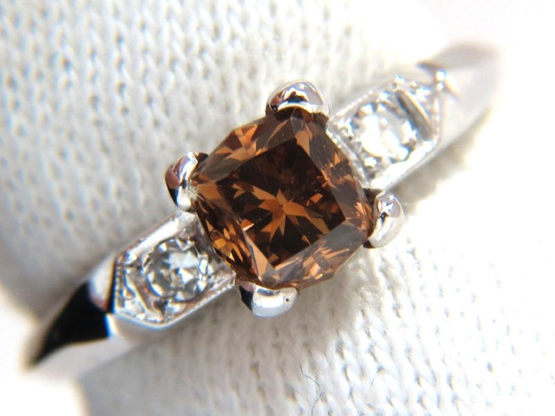 1.12CT NATURAL FANCY BRIGHT ORANGE BROWN DIAMOND RING