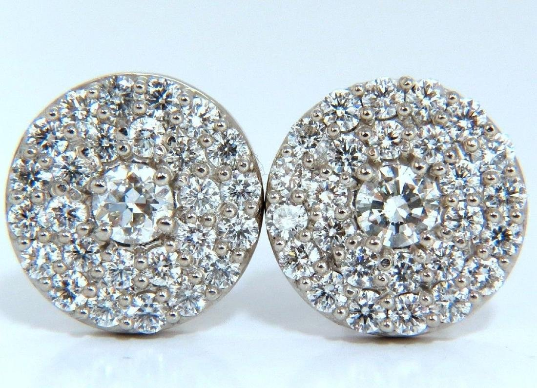 4.26ct natural round diamonds cocktail cluster earrings