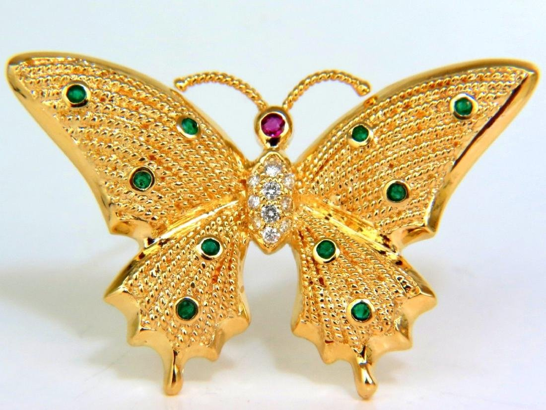 .80CT NATURAL EMERALD DIAMONDS 3D BUTTERFLY PIN 14KT