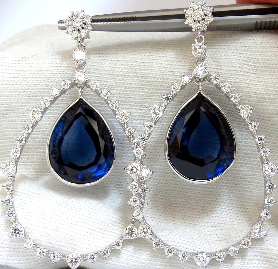 47.97ct SAPPHIRE DIAMONDS DANGLE EARRINGS LARGE 18KT