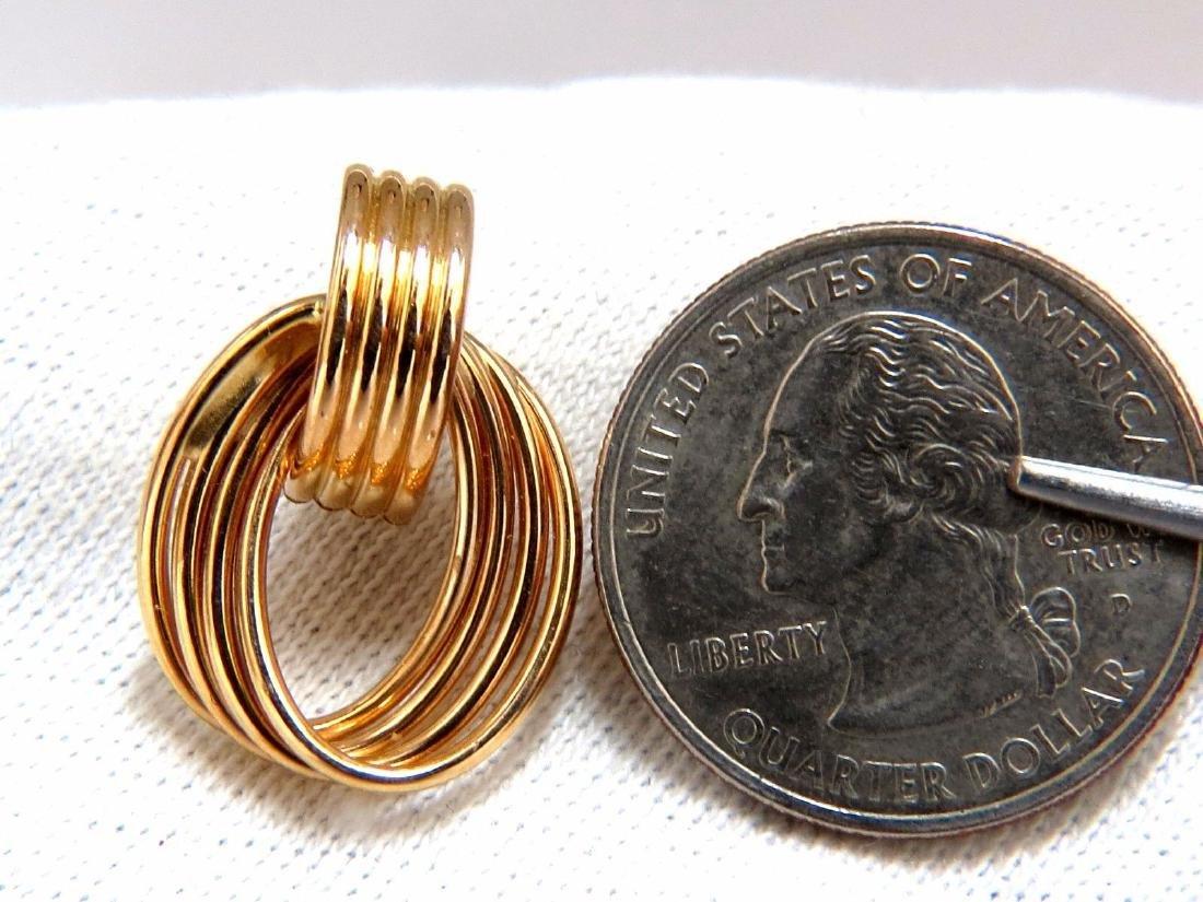 14kt 3D 1980's Deco Tubular Form Earrings Door Knocker - 3