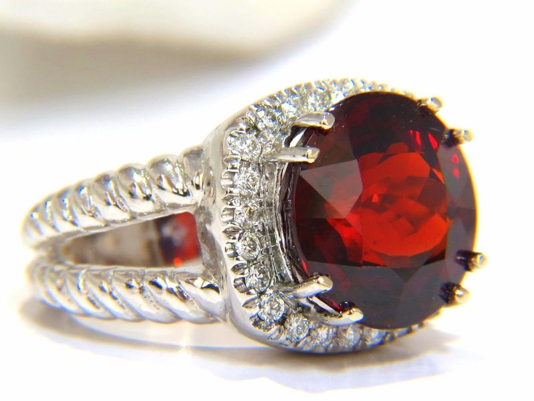 13.12CT NATURAL SPESSARTITE GARNET DIAMONDS RING VIVID