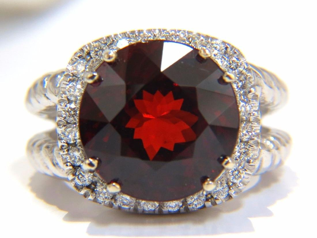 13.12CT NATURAL SPESSARTITE GARNET DIAMONDS RING VIVID - 2