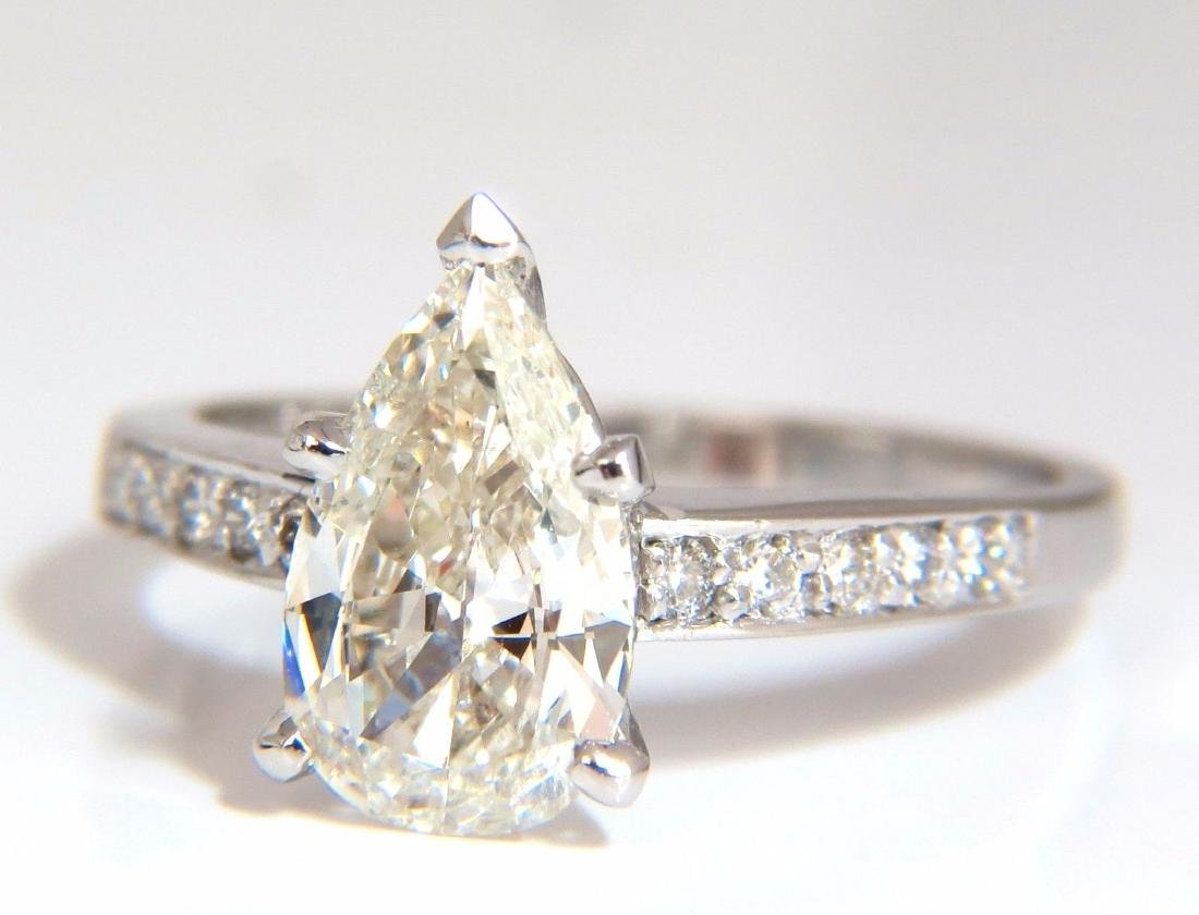 GIA Certified 1.49ct Pear Shape diamond ring .20ct.