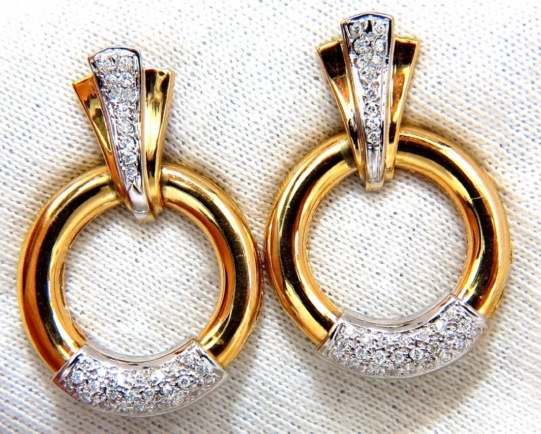 .80ct natural diamonds circular knocker deco earrings