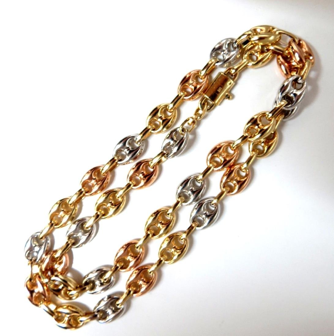 14kt Yellow / White / Pink Gold Chain Link Necklace