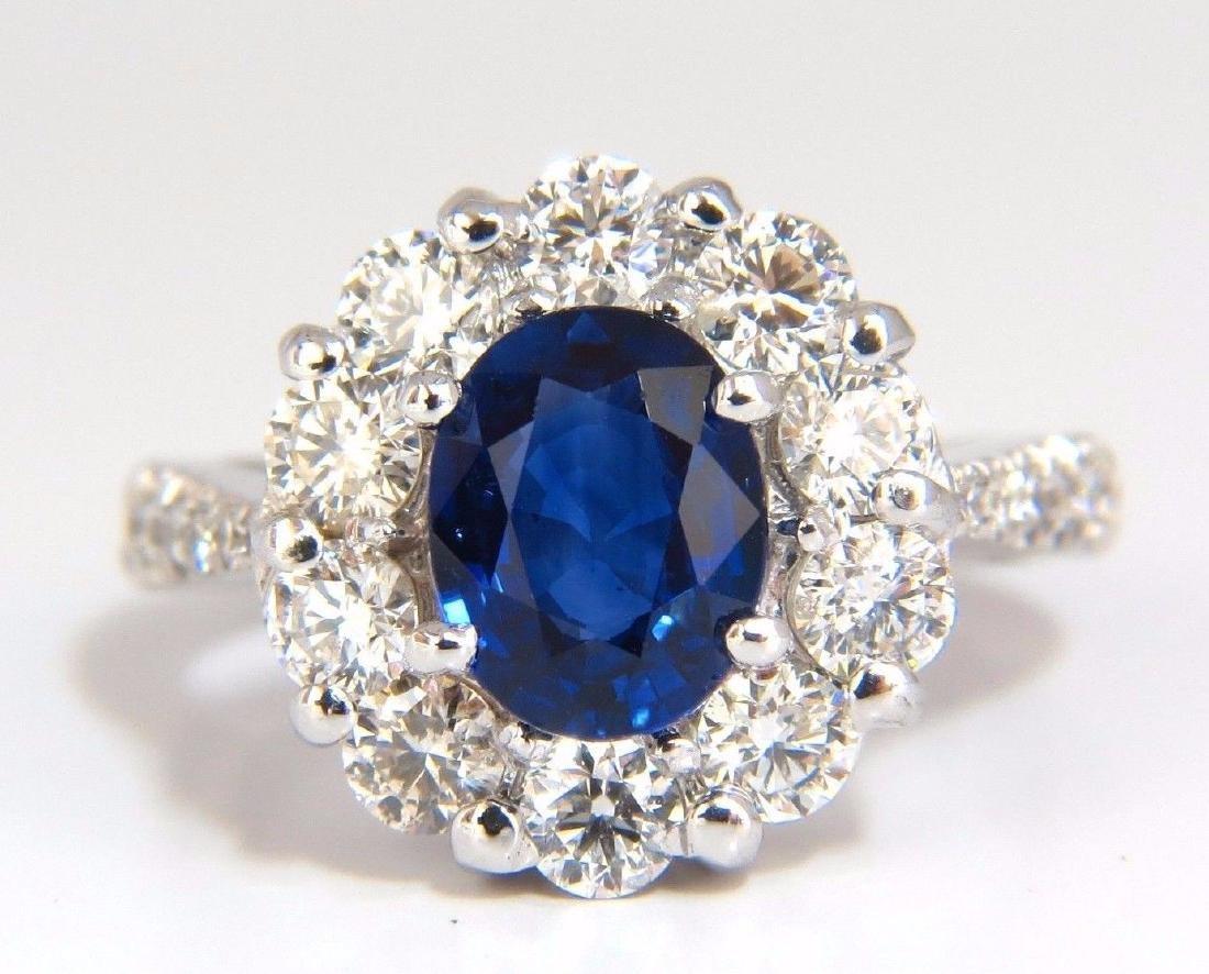 GIA 3.67CT NATURAL VIVID ROYAL BLUE DIAMONDS RING