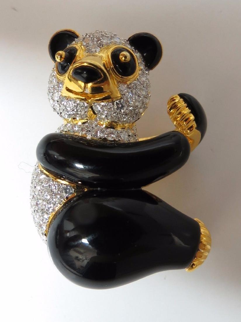 3.50ct natural obyx diamonds Panda Bear pendant enhance - 2