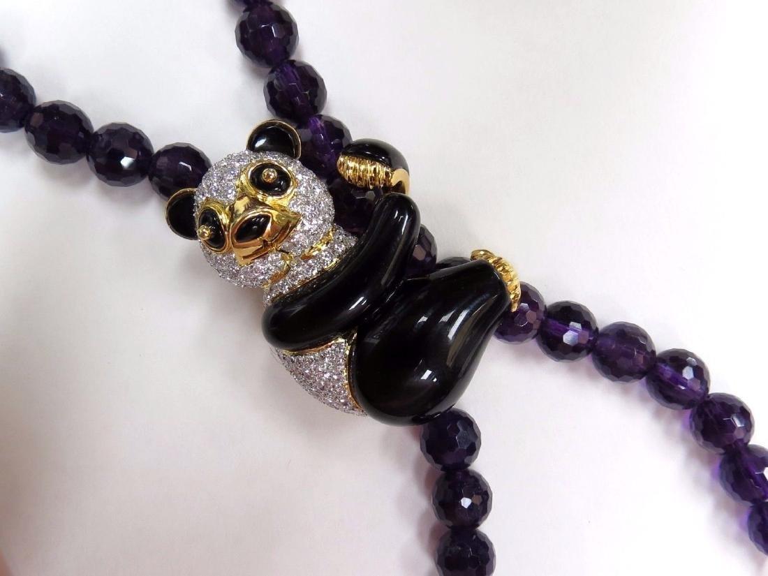 3.50ct natural obyx diamonds Panda Bear pendant enhance - 9