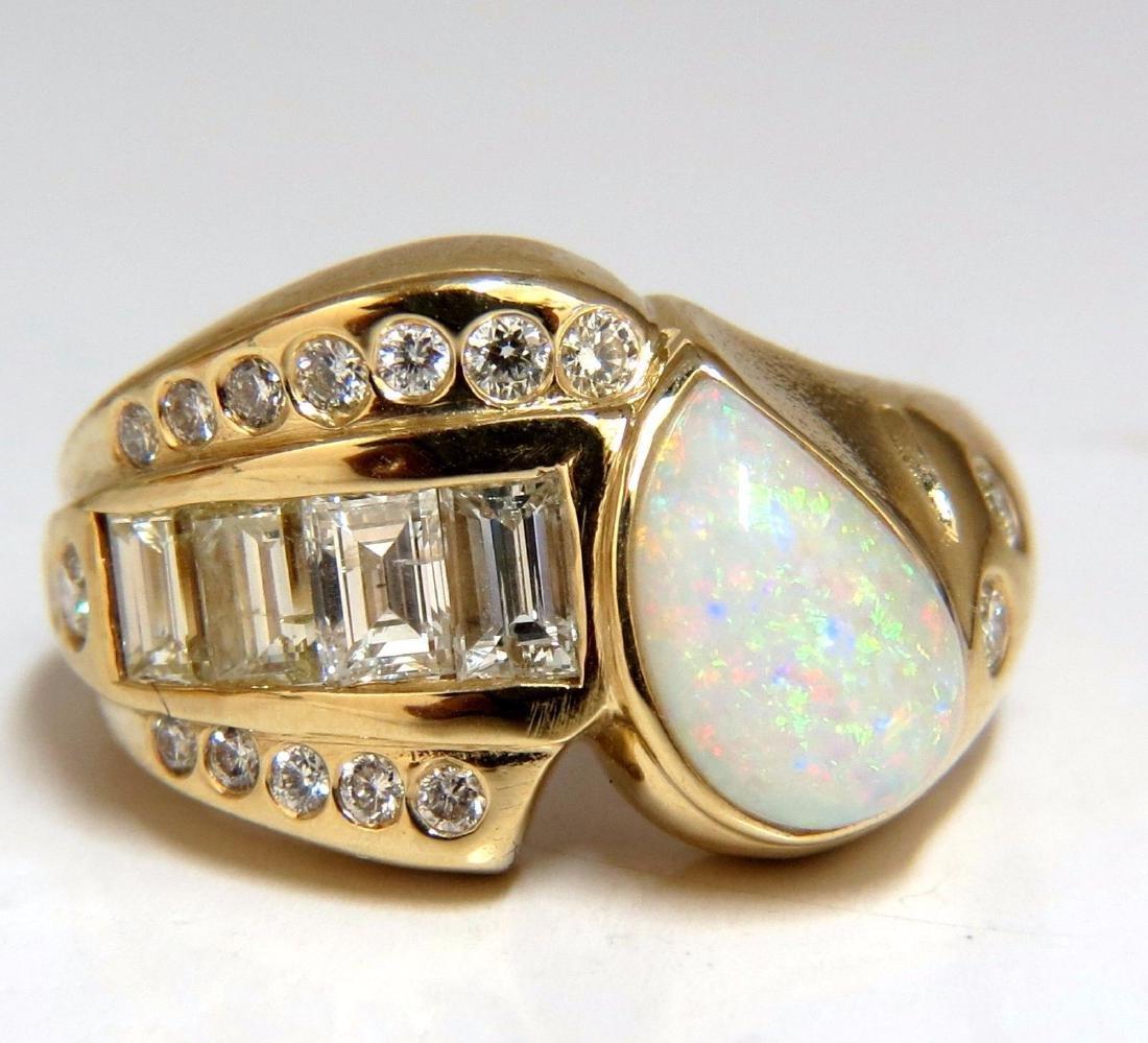 2.80ct Natural Australia Opal Diamond Ring 14kt