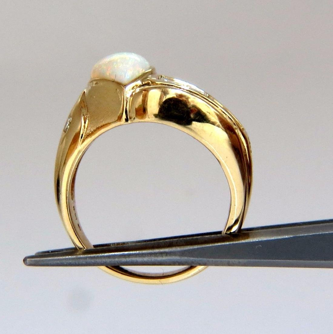 2.80ct Natural Australia Opal Diamond Ring 14kt - 4