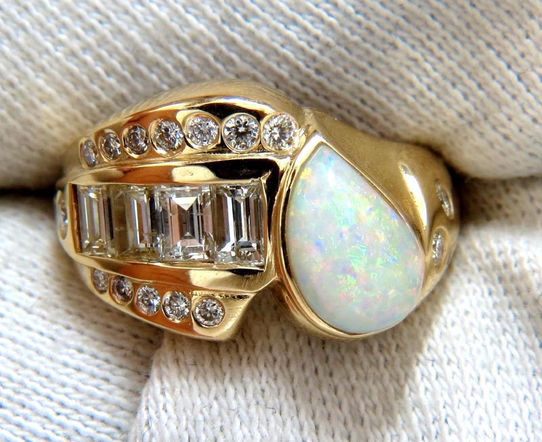 2.80ct Natural Australia Opal Diamond Ring 14kt - 5