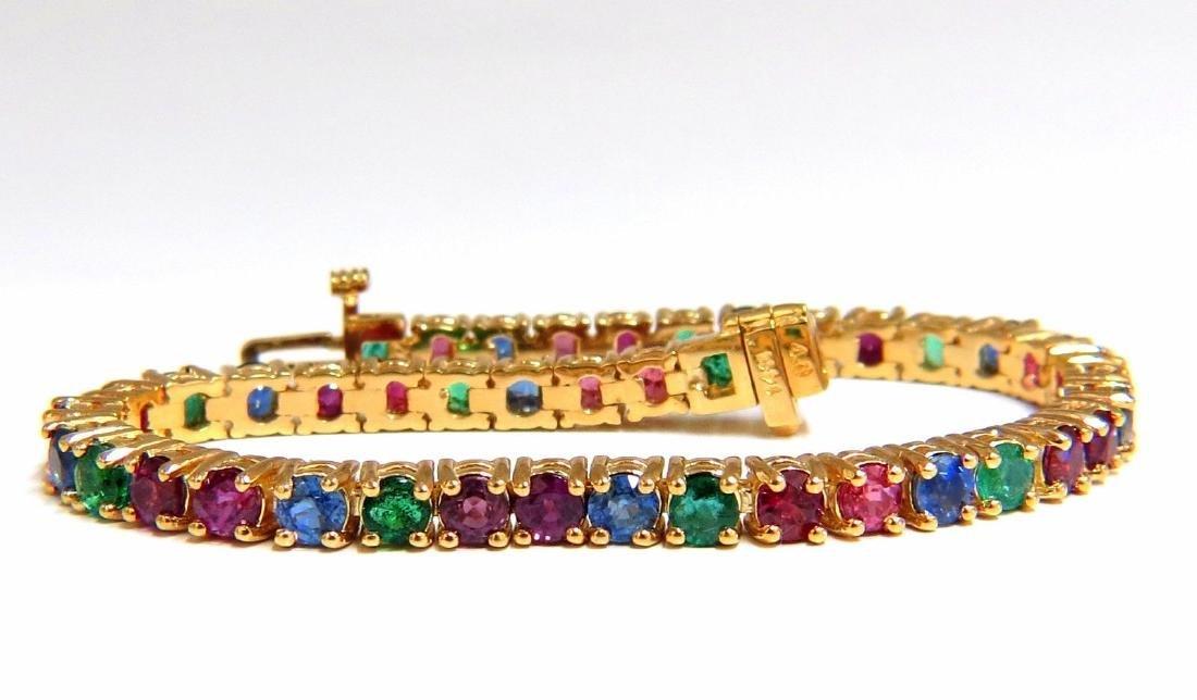 12ct natural ruby emerald sapphire tennis bracelet 14kt