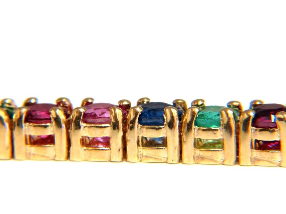 12ct natural ruby emerald sapphire tennis bracelet 14kt - 3