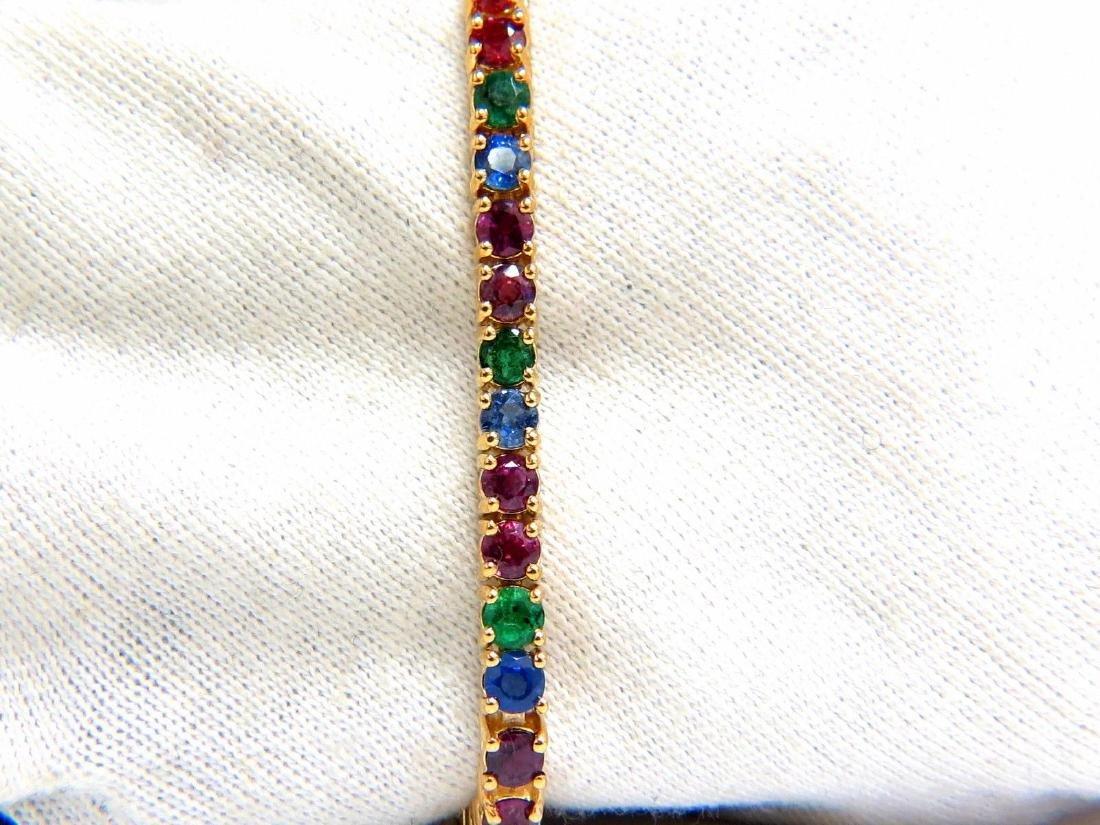 12ct natural ruby emerald sapphire tennis bracelet 14kt - 4