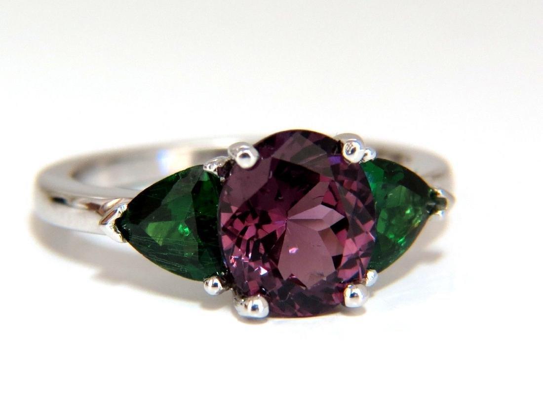 2.94ct Natural Vivid Purple Spinel Green Tsavorite Ring