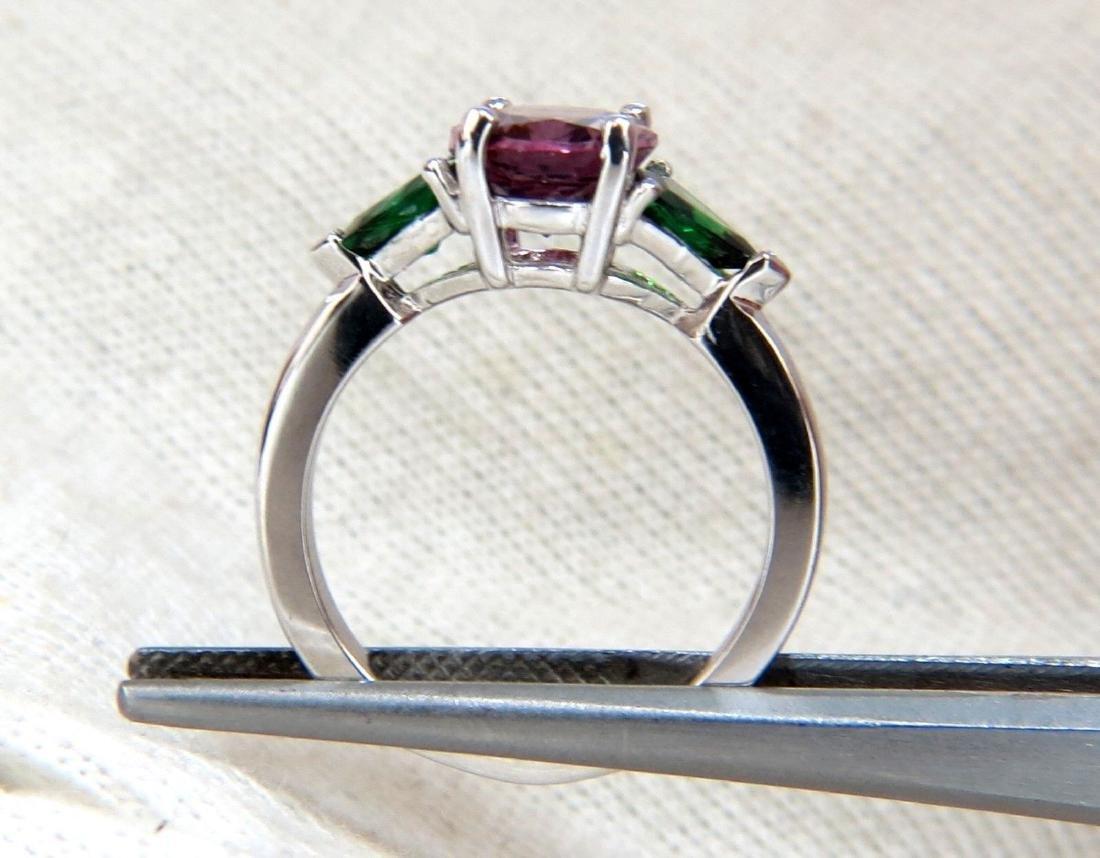 2.94ct Natural Vivid Purple Spinel Green Tsavorite Ring - 3
