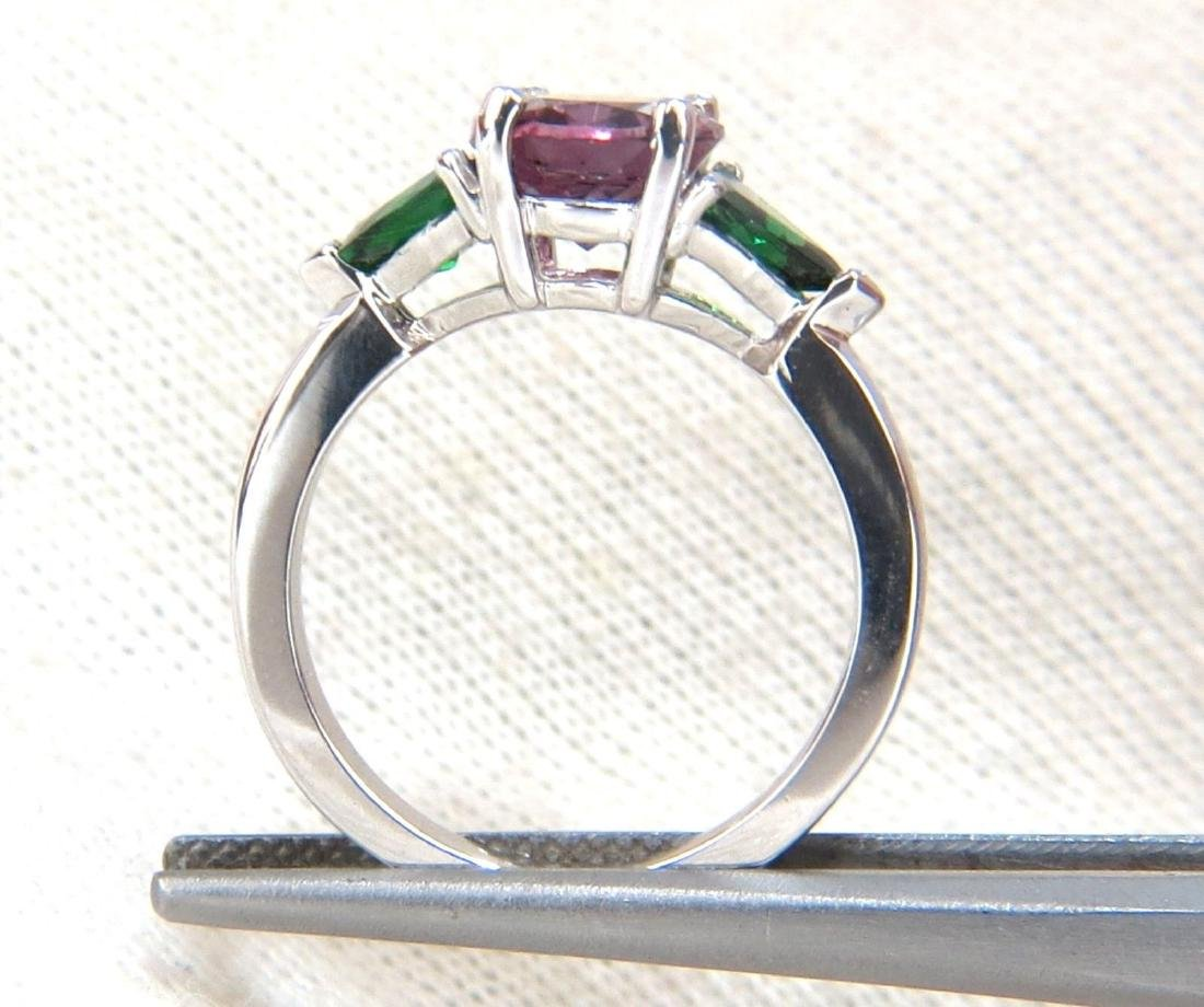 2.94ct Natural Vivid Purple Spinel Green Tsavorite Ring - 4
