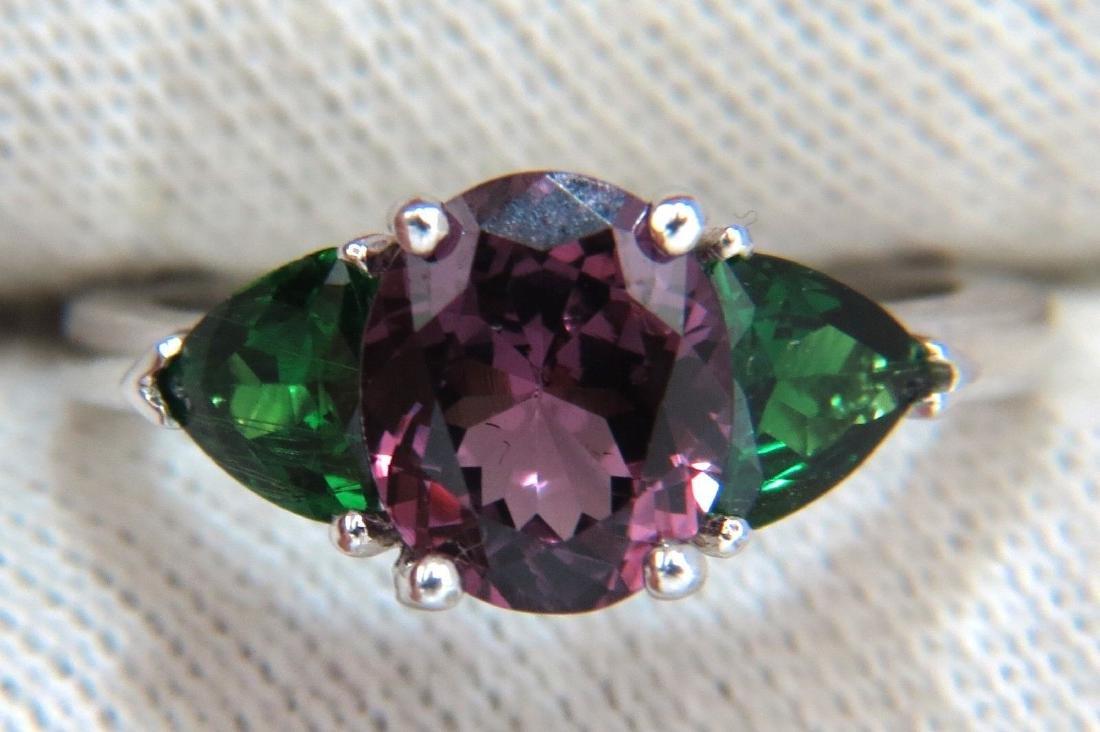2.94ct Natural Vivid Purple Spinel Green Tsavorite Ring - 5