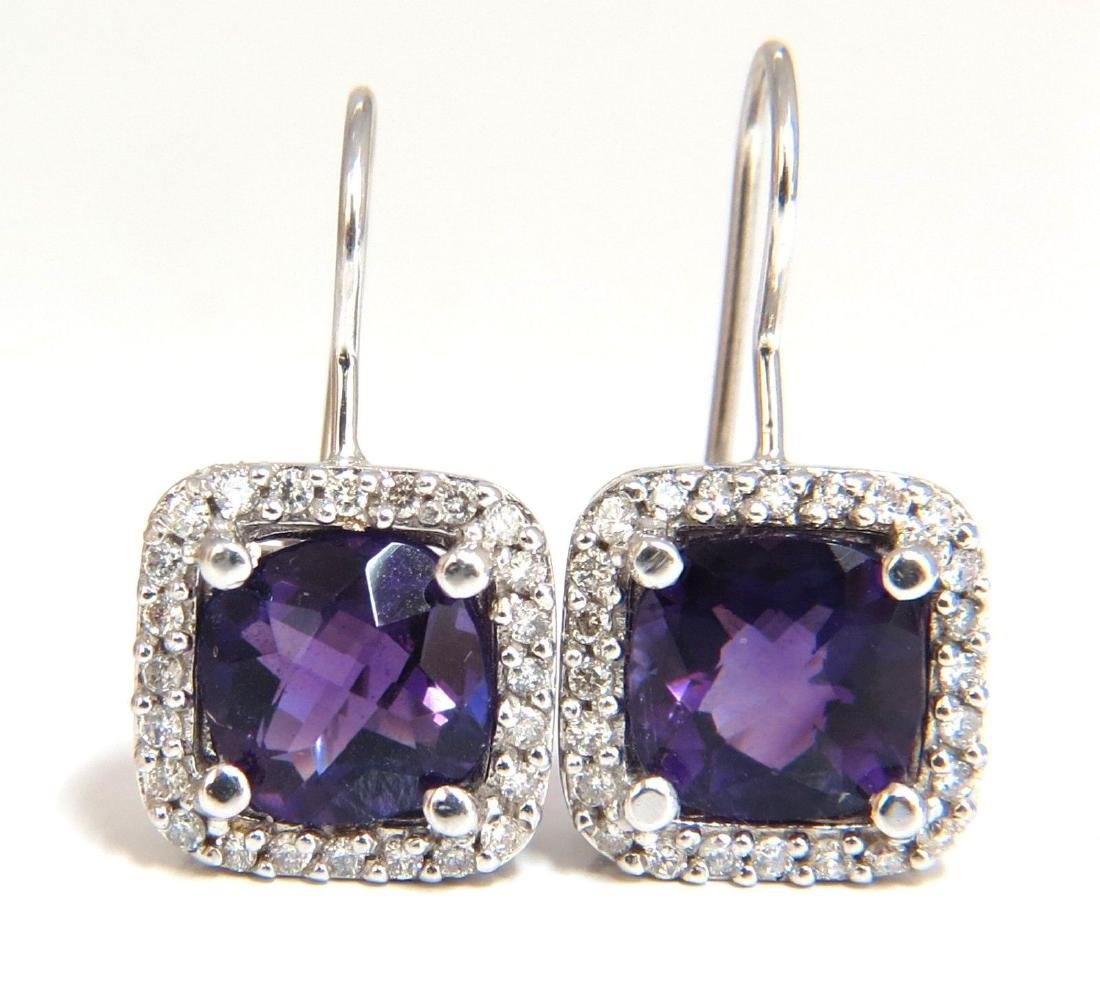 4.18ct natural purple amethyst diamond dangle earrings