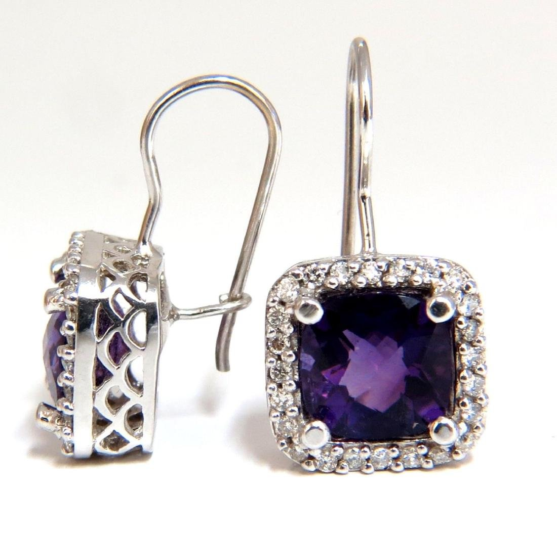 4.18ct natural purple amethyst diamond dangle earrings - 2