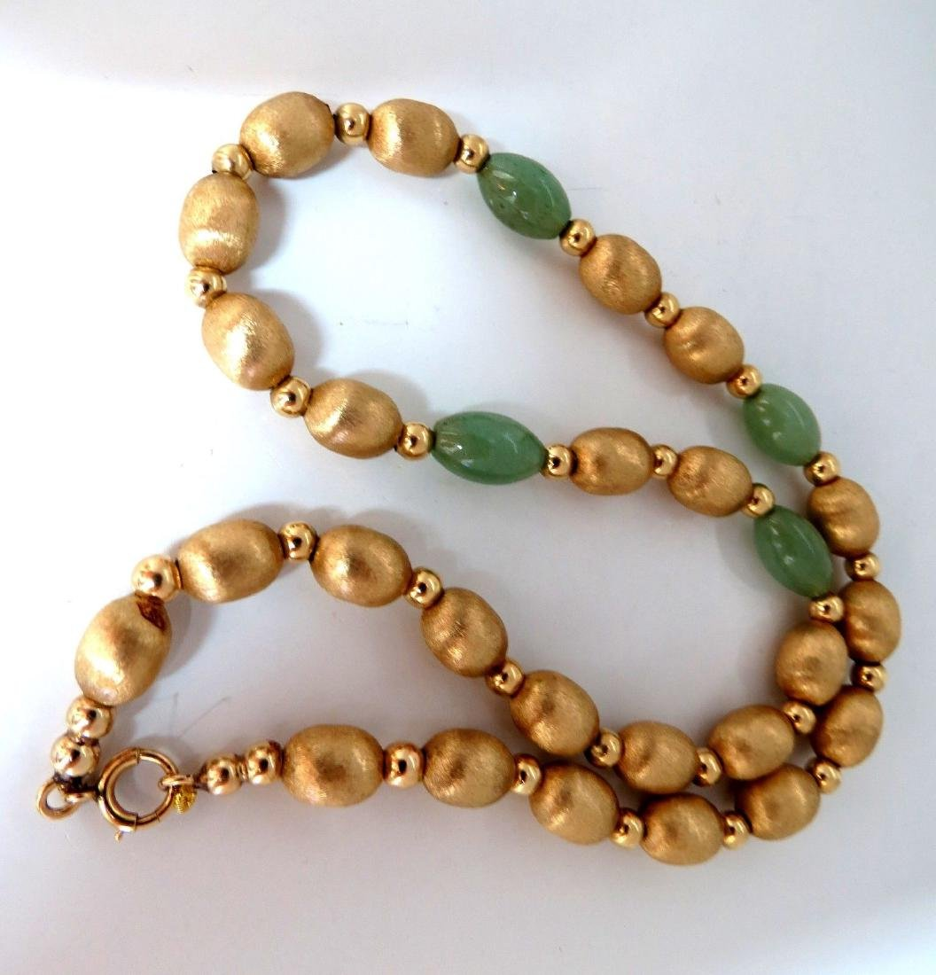 10ct Jade Bead & Brushed Bead Necklace 14kt