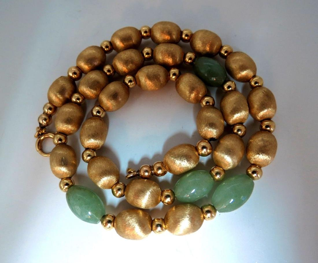 10ct Jade Bead & Brushed Bead Necklace 14kt - 2