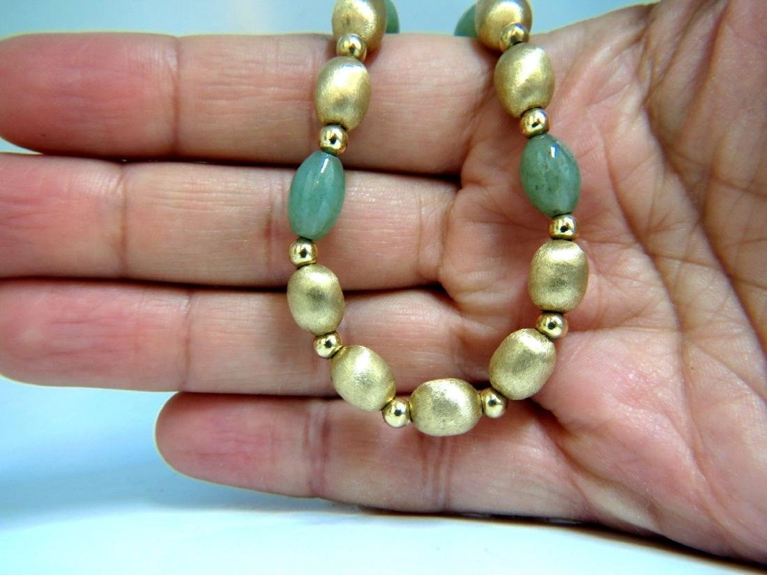 10ct Jade Bead & Brushed Bead Necklace 14kt - 5