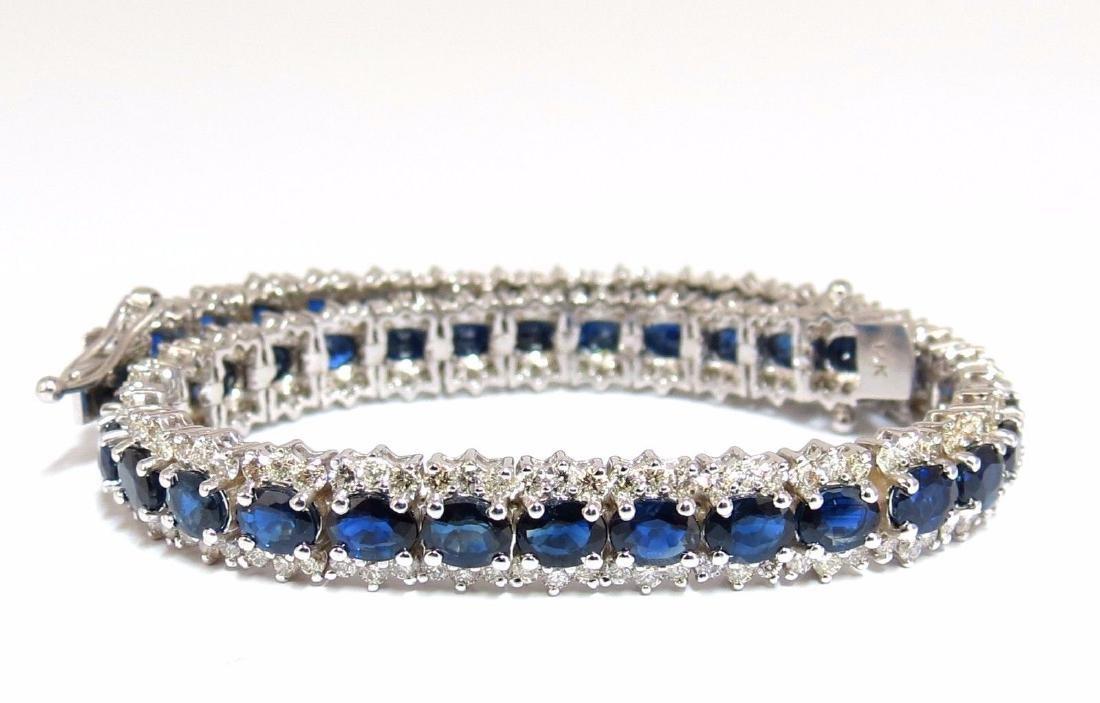 13.60ct natural sapphire diamonds tennis bracelet 14kt