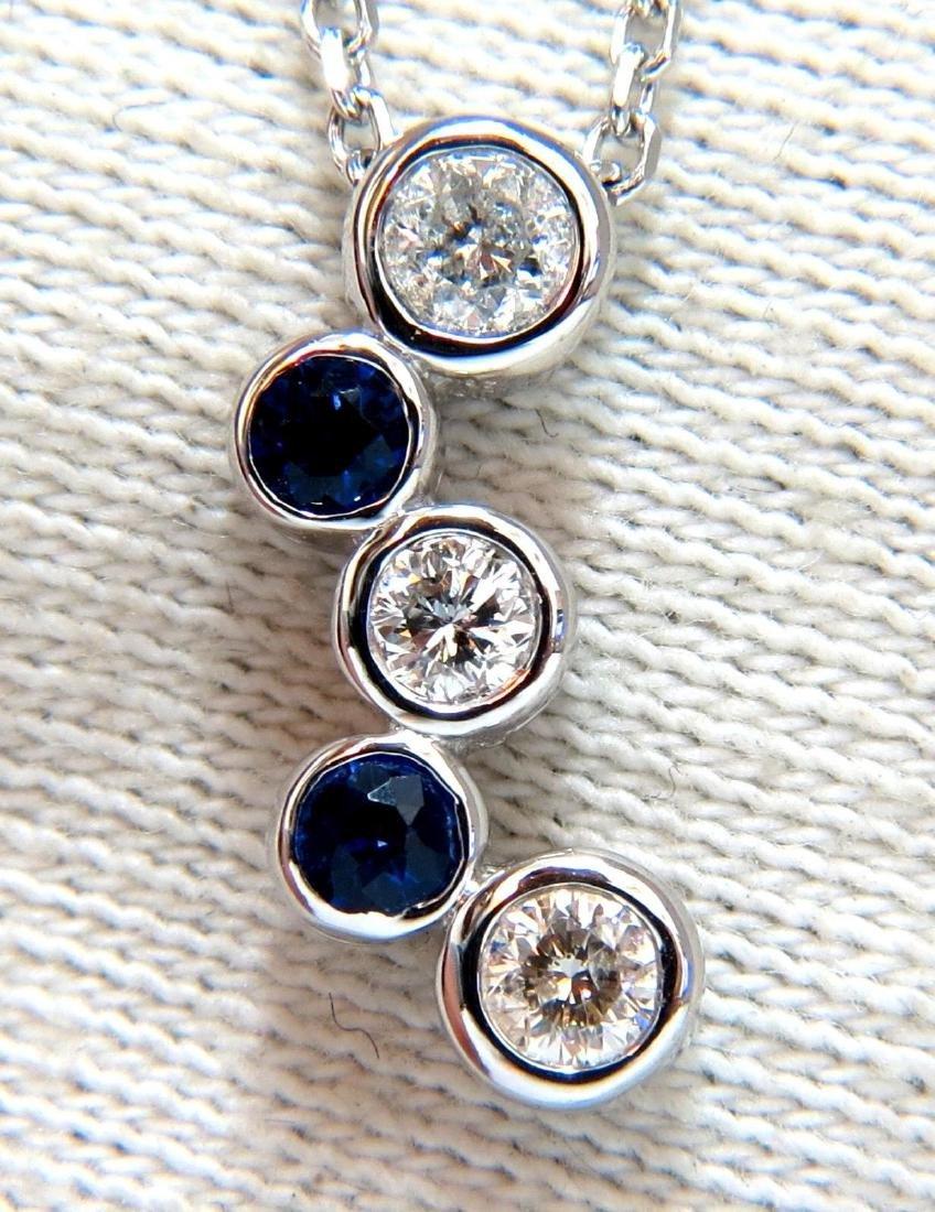.70ct Natural Blue Sapphire Diamonds Drop Necklace 14 k
