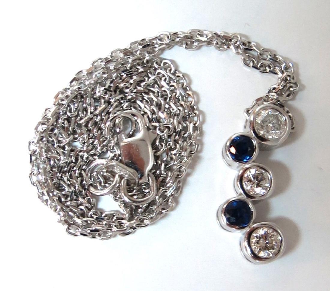 .70ct Natural Blue Sapphire Diamonds Drop Necklace 14 k - 3
