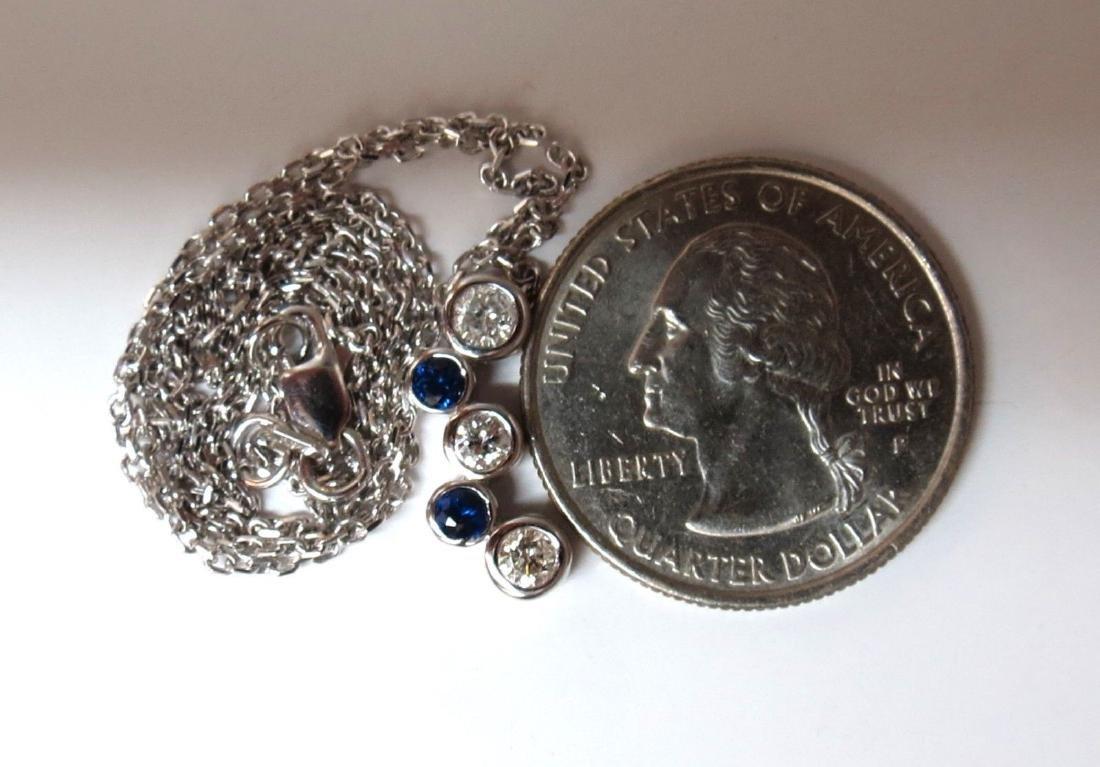 .70ct Natural Blue Sapphire Diamonds Drop Necklace 14 k - 4