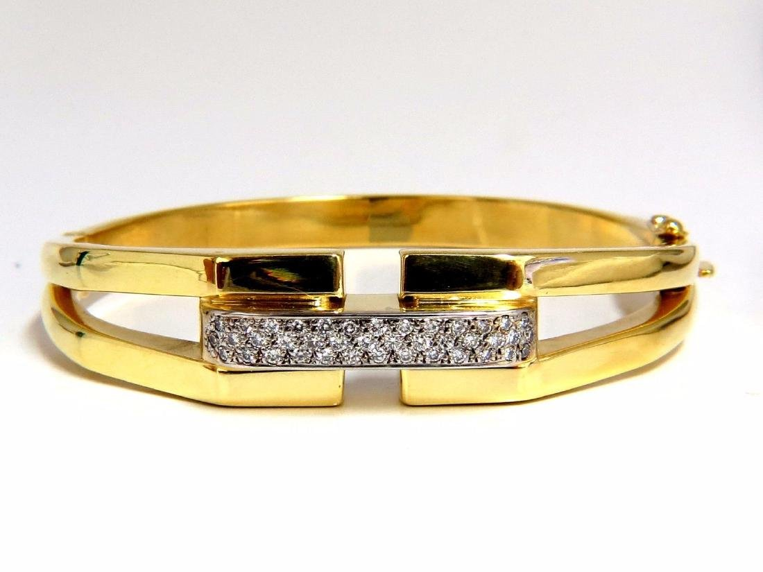 bangle bracelet 14kt .70ct round natural diamonds raise