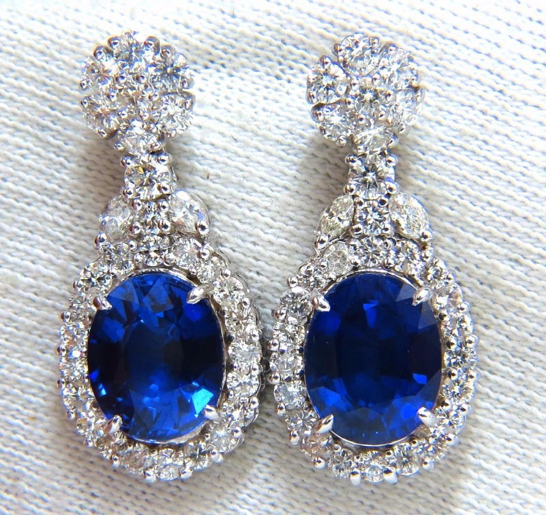 19.00ct Lab Royal Blue Sapphire Diamonds Dangle Earring
