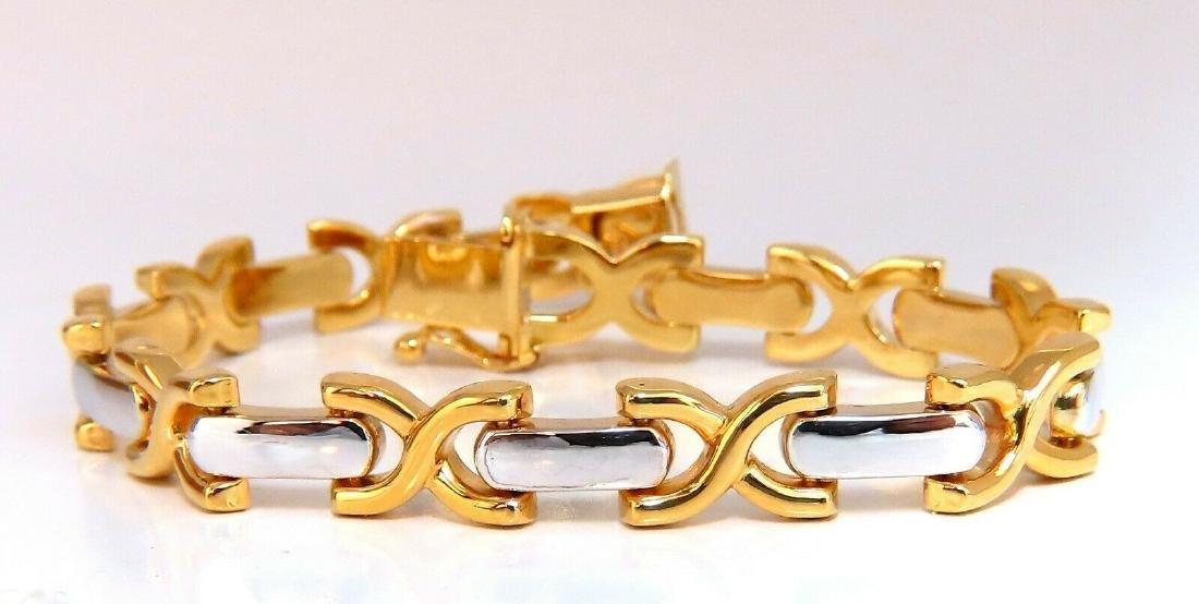 Gold Italian X Link Bracelet two tone 14 Karat