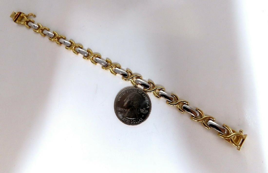 Gold Italian X Link Bracelet two tone 14 Karat - 4