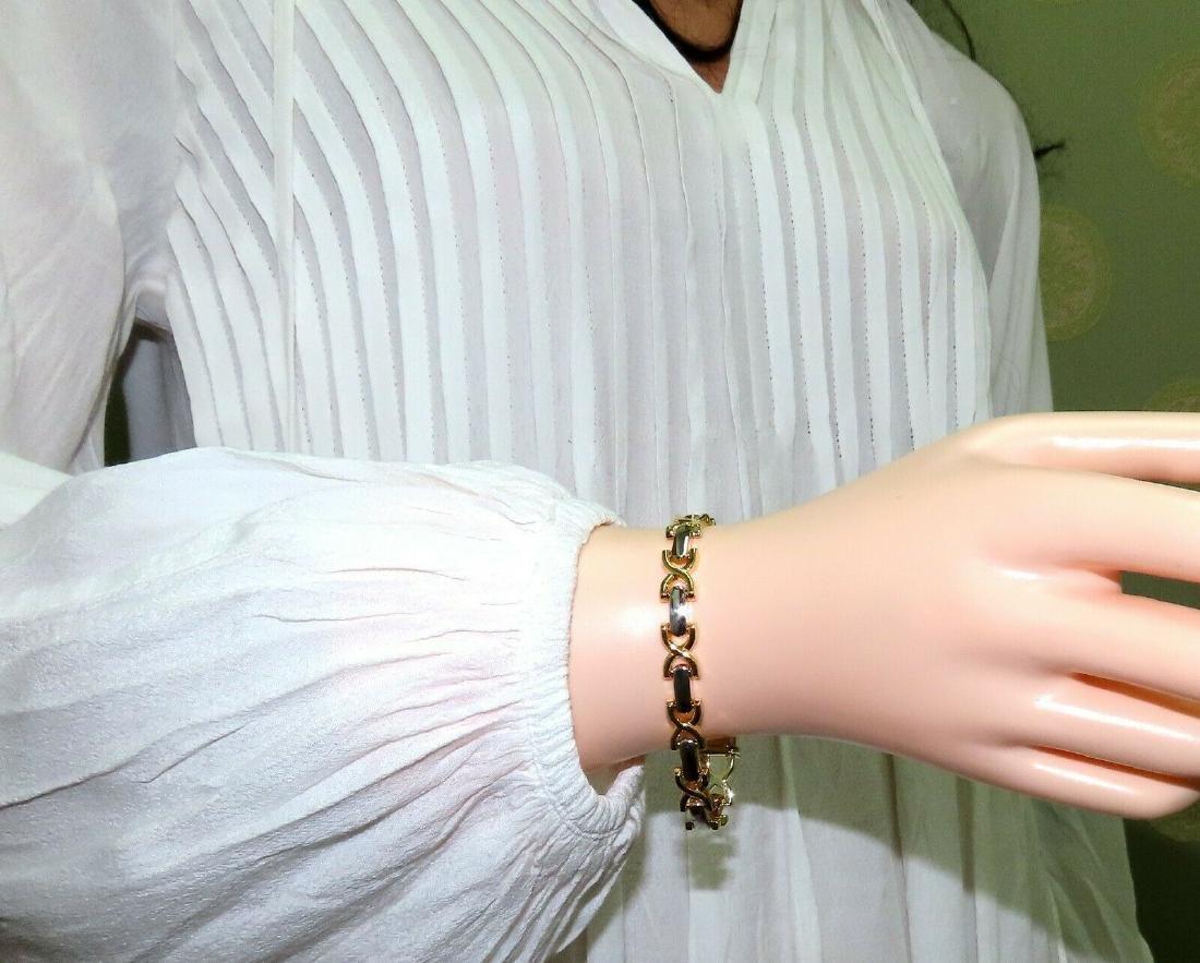 Gold Italian X Link Bracelet two tone 14 Karat - 5