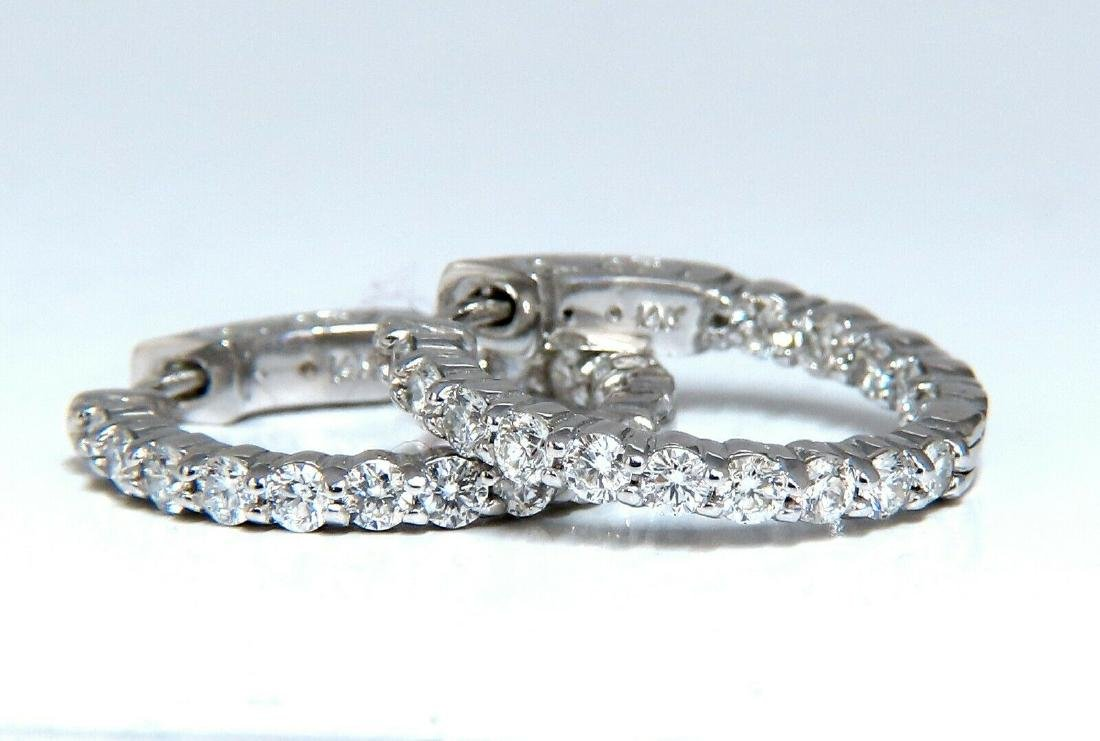 1.30ct natural round diamonds inside out hoop earrings