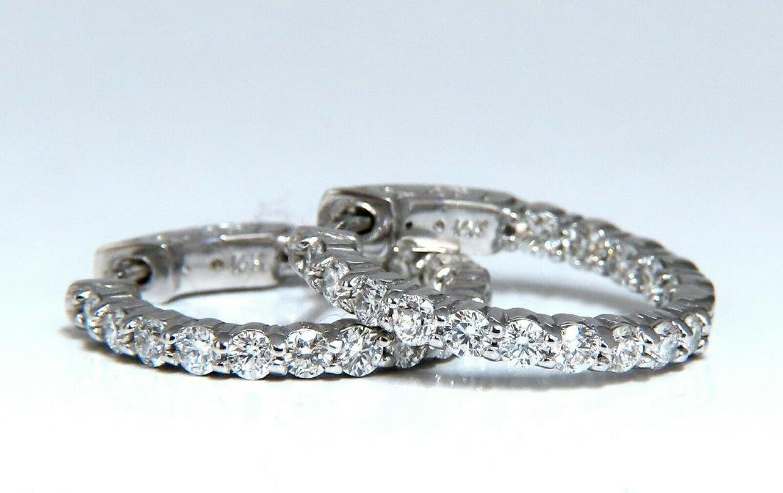 1.30ct natural round diamonds inside out hoop earrings - 2