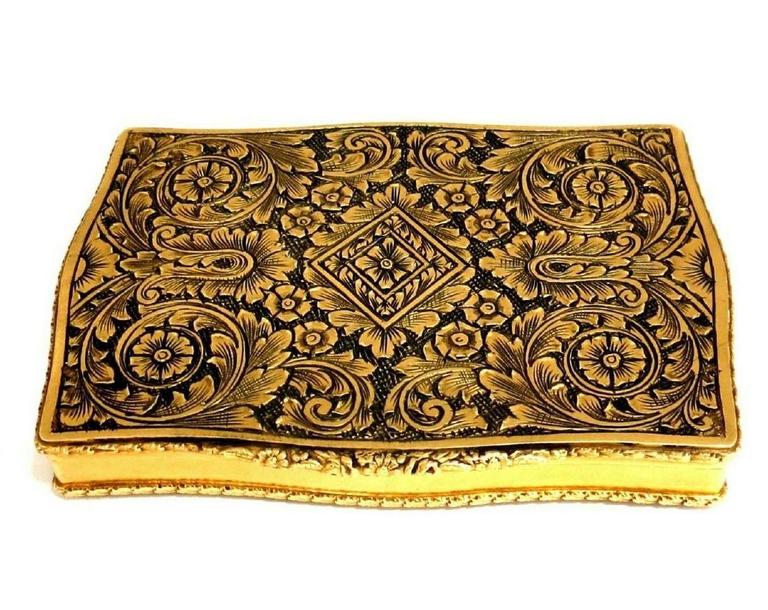 Vintage European Artisan Graver Gold Box Keepsake 18 Ka