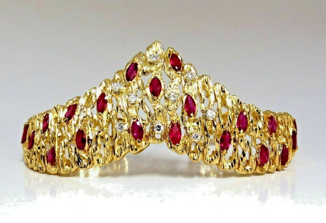 6.00ct Natural Ruby Diamond Coral Patina Chevron Cuff