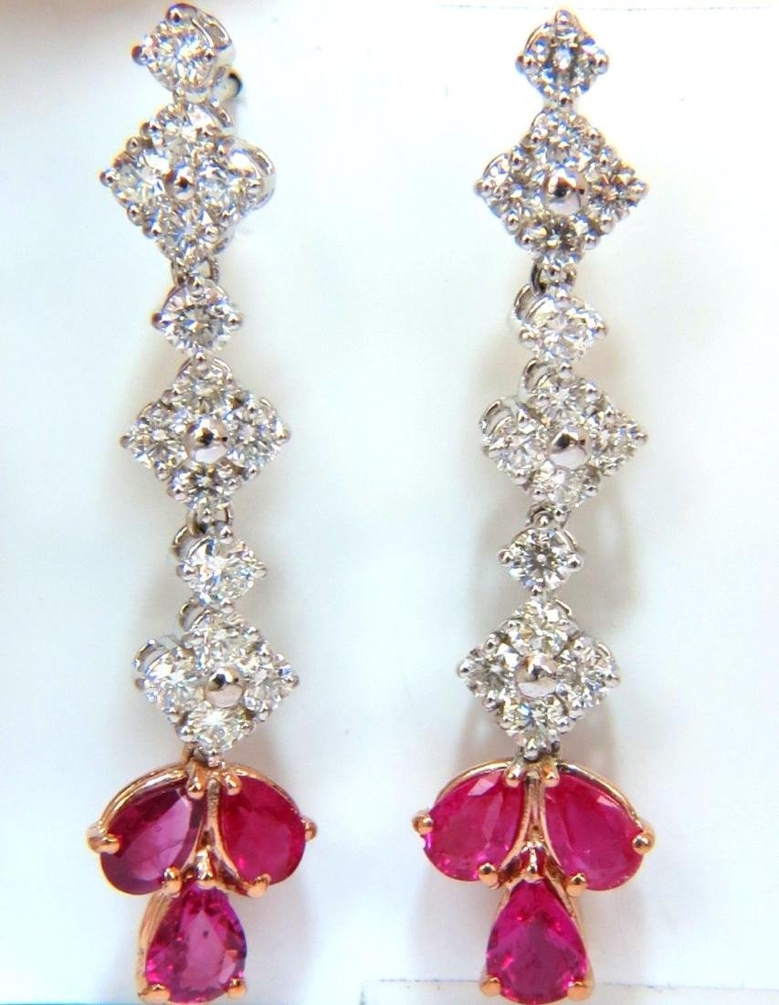 5.94CT Natural Red No Heat Ruby Diamond Dangle Earrings