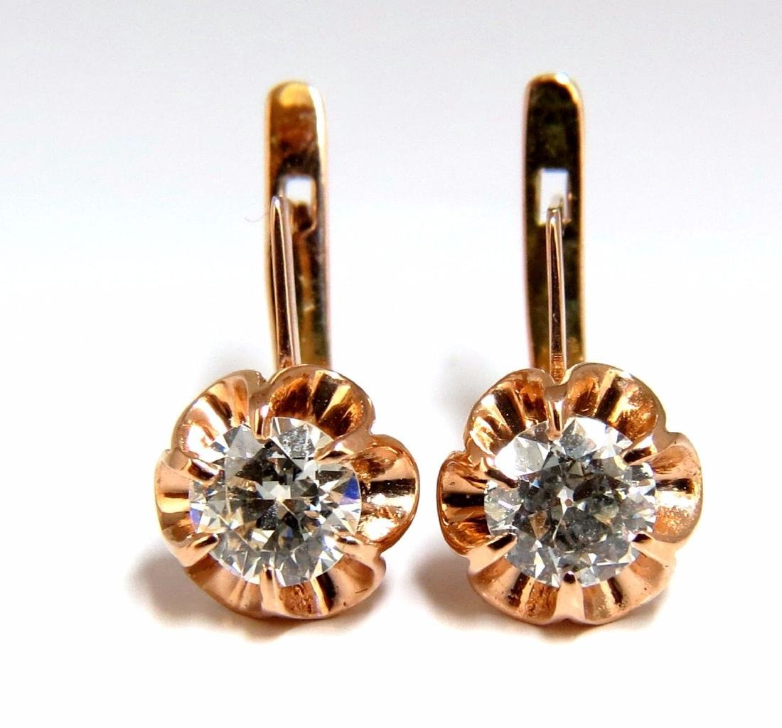 1.40ct Russian old mine natural diamonds earrings 14kt.