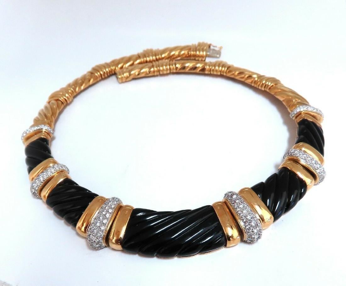 Turi 6.00ct Diamonds Jet Black Onyx Necklace 18 Karat W