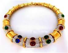 48ct Natural Emeralds Ruby Sapphire Diamonds Statement