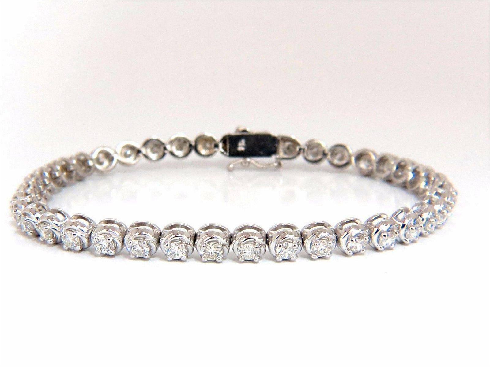 3.50ct natural diamonds tennis bracelet 14kt 7 inch