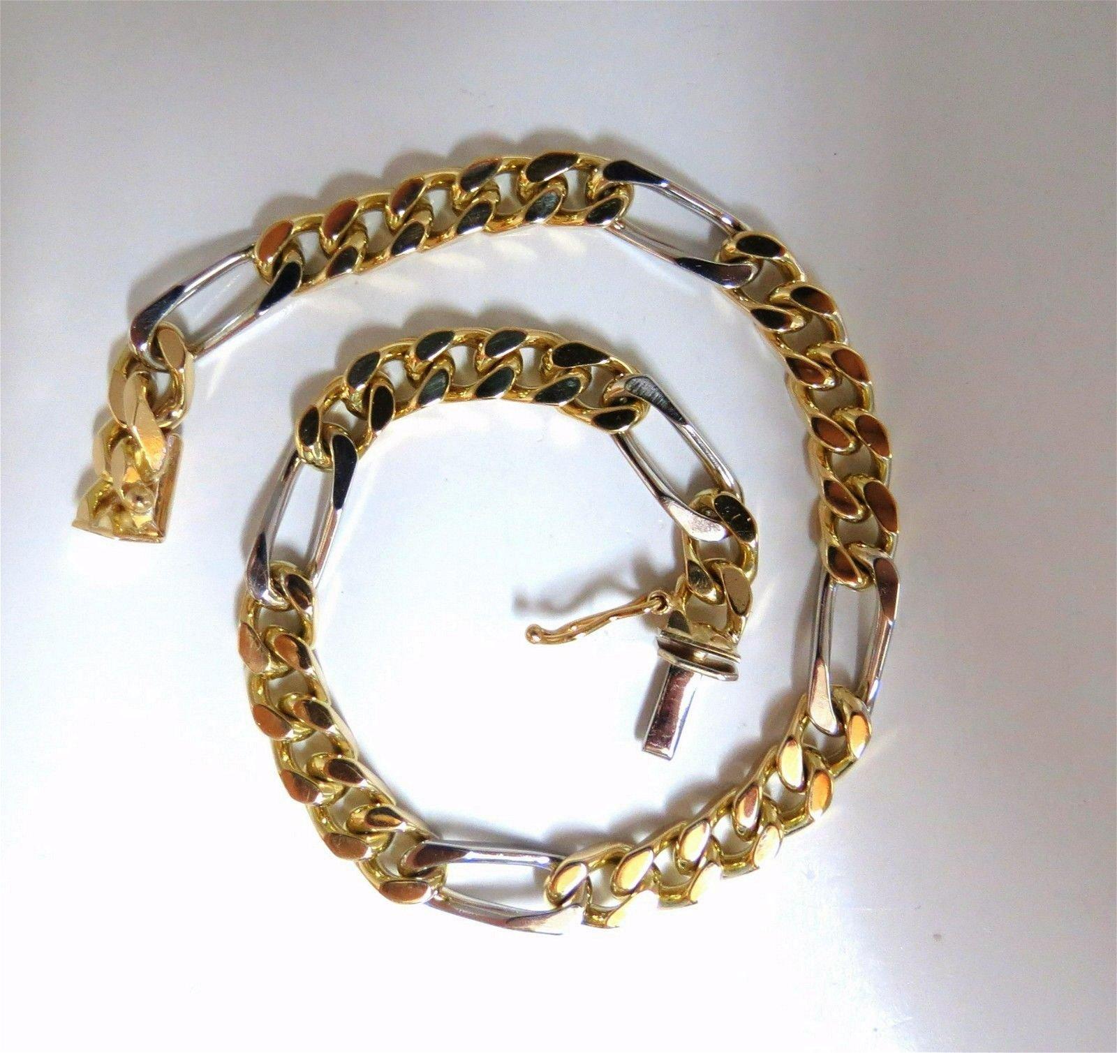14kt Mens Classic Figaro Bracelet 8inch
